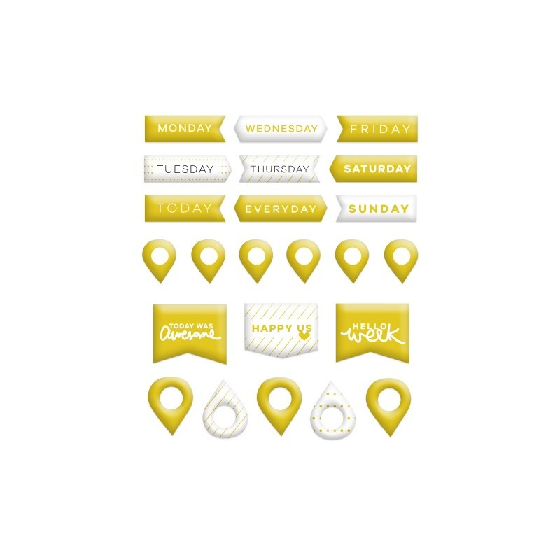 Stickers Puffy Evalicious - Gold Pins & Banners