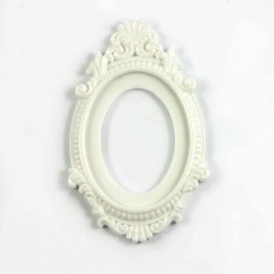 Grand cadre baroque en résine - Blanc mat