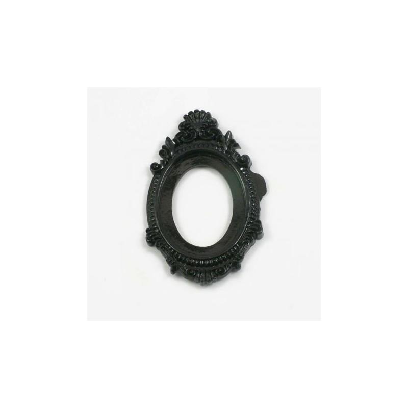 Grand cadre baroque en résine - Noir mat