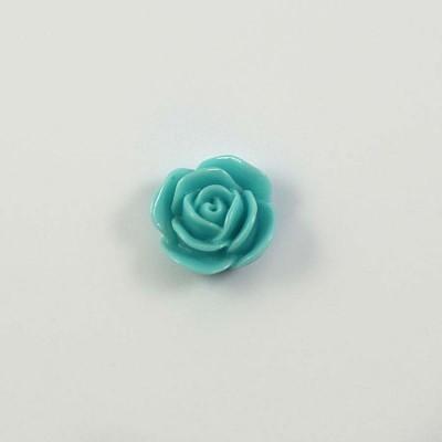 Rose en résine 15mm (lot de 20) - Turquoise clair
