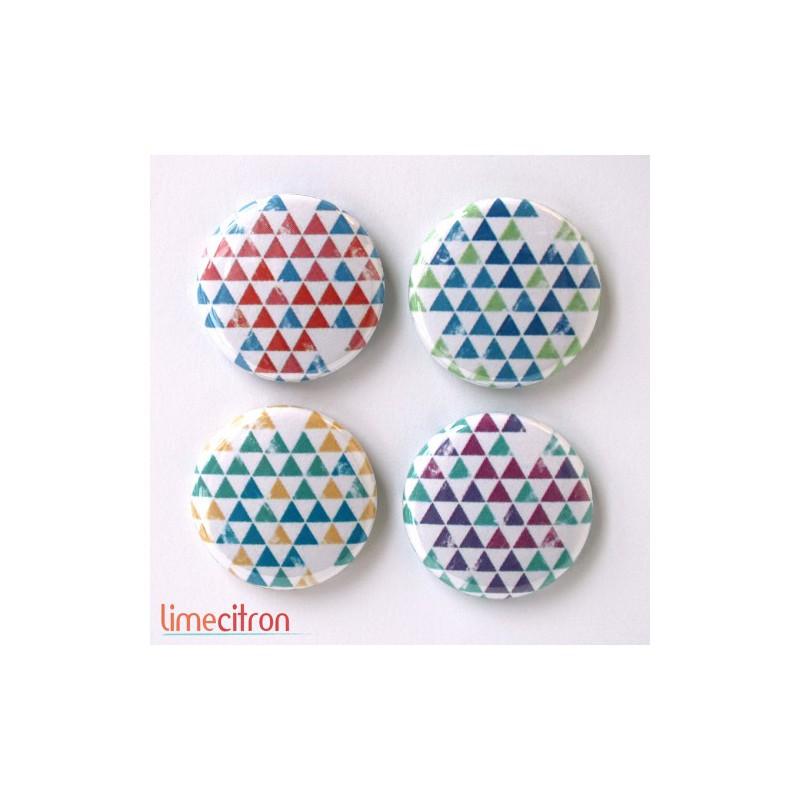 "Badges Lime Citron 1"" - Triangles 4 couleurs"