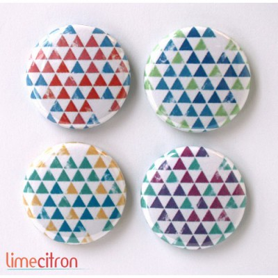 "Badges Lime Citron 1"" - Triangles 4 couleurs"