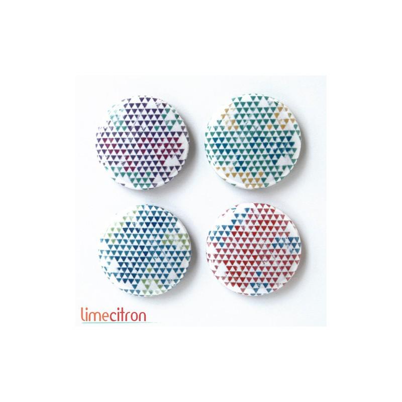 """Badges Lime Citron 1"""" - Mini triangles 4 couleurs"""