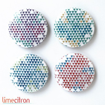 "Badges Lime Citron 1"" - Mini triangles 4 couleurs"