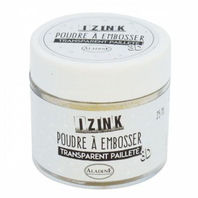 Poudre à embosser Izink - Transparent Pailleté
