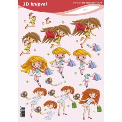 Image Carterie 3D - Jeunes filles smartphone/shopping/fleurs