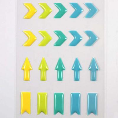 Stickers Enamel Chevrons - Jaune Vert Bleu