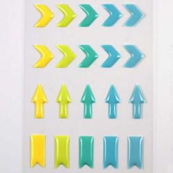 Stickers Enamal Chevrons - Jaune Vert Bleu