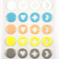 Stickers Enamal Symboles - Blanc Bleu Corail Jaune Gris