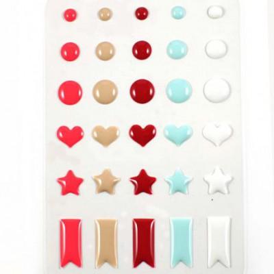 Stickers Enamel Ronds Coeurs Etoiles - Combo Tendre