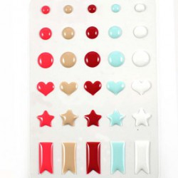 Stickers Enamal Ronds Coeurs Etoiles - Combo Tendre