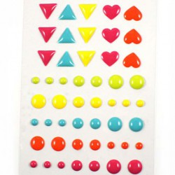 Stickers Enamel Ronds Coeurs Triangles - Combo Pastel