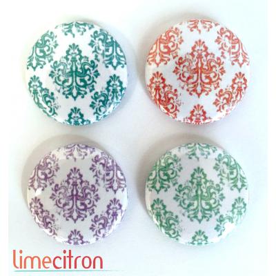 "Badges Lime Citron 1"" - Damask"