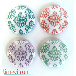 "Badges Lime Citron 1"" - Damask"