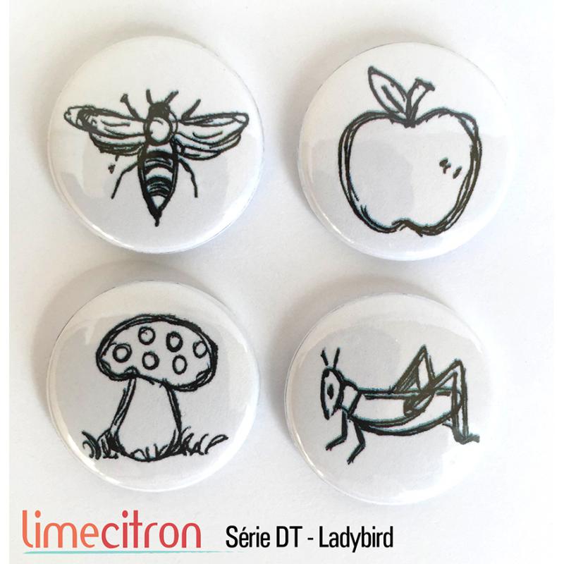 "Badges Lime Citron 1"" - Série DT - Ladybird"