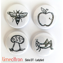 "Badges Lime Citron 1"" - Série DT - Ladybird"