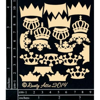 Sujets en carton bois Dusty Attic - Crowns Multi Pack