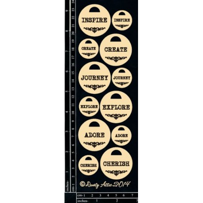 Sujets en carton bois Dusty Attic - Word Tags 1