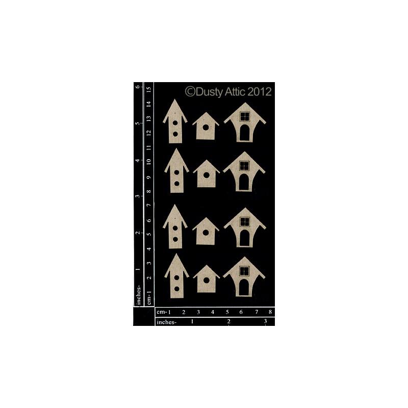 Sujets en carton bois Dusty Attic - Mini Birdhouses