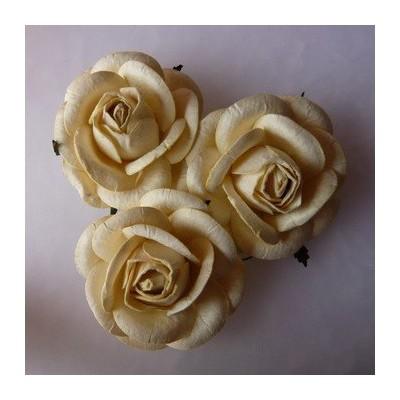 Fleurs Roses 45 mm - Crèmes (10 pièces)