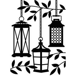 Pochoir de gaufrage Darice - Lanterns in Trees (Lanternes)