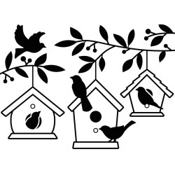 Pochoir de gaufrage Darice - Birdhouses in Tree (Nichoirs dans l'arbre)