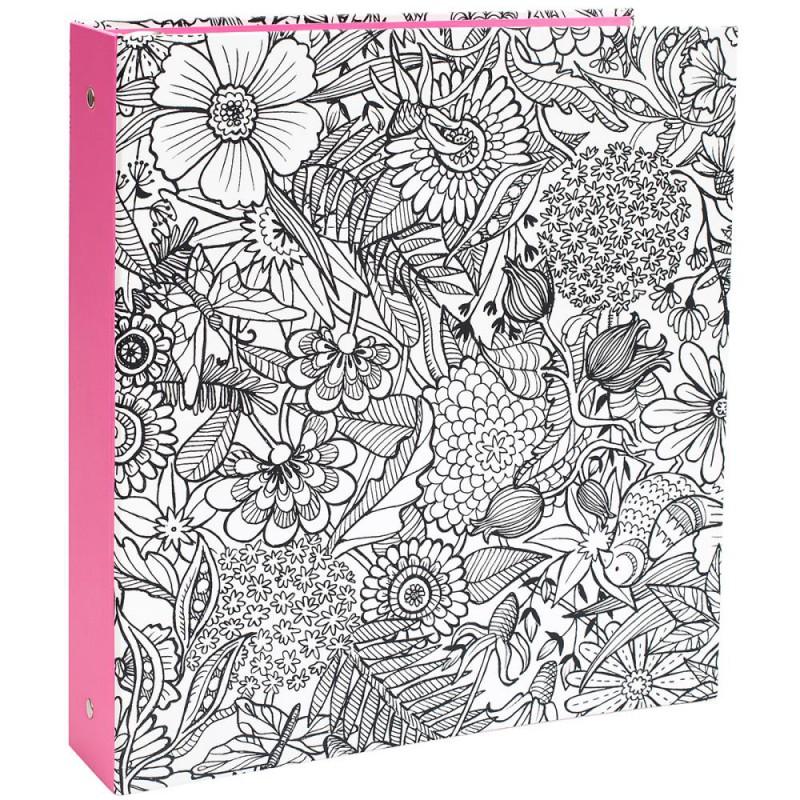 Classeur A4 US à colorier - Floral avec tranche rose