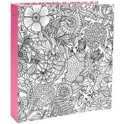 Classeur A4US à colorier - Floral avec tranche rose
