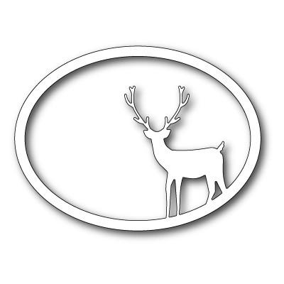 Die Memory Box - Standing Deer Oval Frame