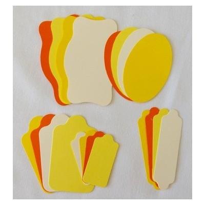 Etiquettes 5 formes - Beige-2 jaunes-orange