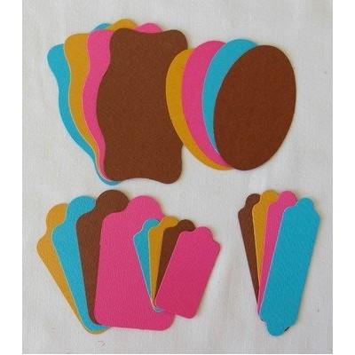Etiquettes 5 formes - 2 Marron-Bleu-Fushia