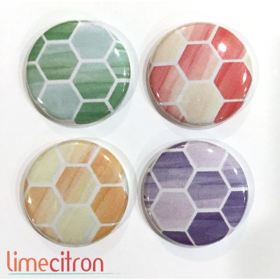 "Badges Lime Citron 1"" - Nid d'abeille"