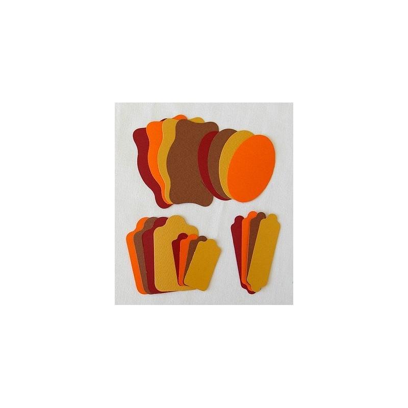 Etiquettes 5 formes - 2 Marrons-Bordeaux-Orange