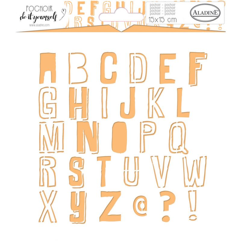 Pochoir Aladine DIY 15x15 cm - Alphabet