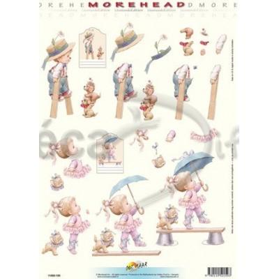 Image Carterie 3D - Garçon et échasses / Danseuse au parapluie