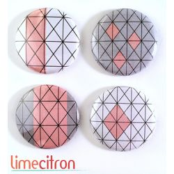 "Badges Lime Citron 1"" - Graphique rose & gris"