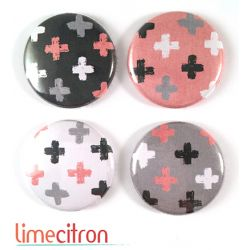 "Badges Lime Citron 1"" - Croix rose & gris"