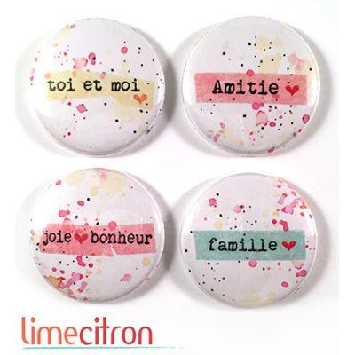 """Badges Lime Citron 1"""" - Joie & Bonheur"""