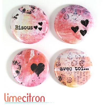 """Badges Lime Citron 1"""" - Bisous"""