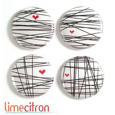 """Badges Lime Citron 1"""" - Lignes & coeurs"""