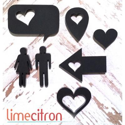 Sujets acryliques Lime Citron - Mr & Mme - Noir