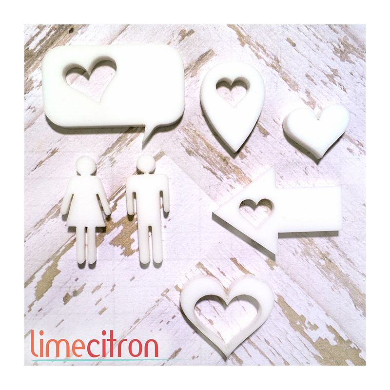 Sujets acryliques Lime Citron - Mr & Mme - Blanc