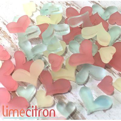 Sujets acryliques Lime Citron - Plein coeurs - Pastels