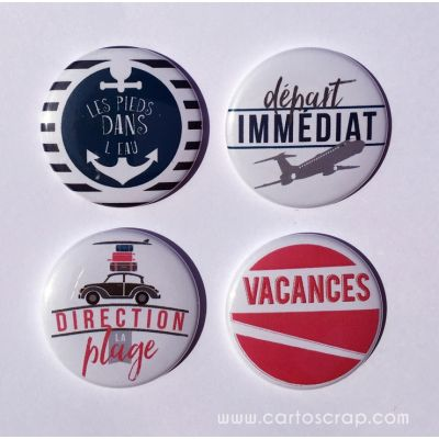 Lot de 4 badges 38mm CartoScrap - Vacances