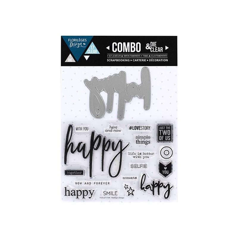 Combo Clear Die Florilèges - Happy