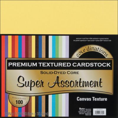 Pack de 100 cardstocks 30x30 cm - Texture canvas - Super Assortiment