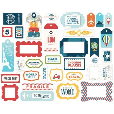 Die Cuts Ephemera - Go, See, Explore - Frames & Tags