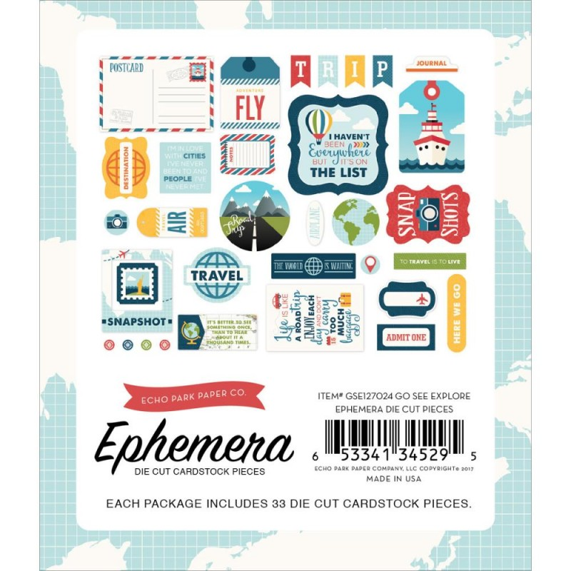 Die Cuts Ephemera - Go, See, Explore - Icons