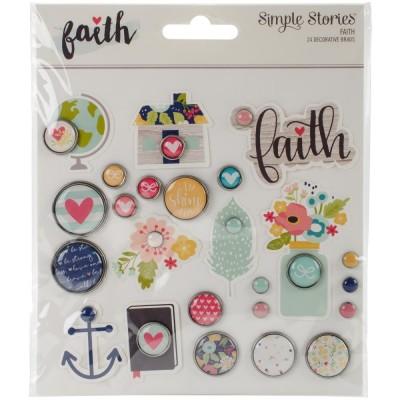 Brads en relief décorés - Faith