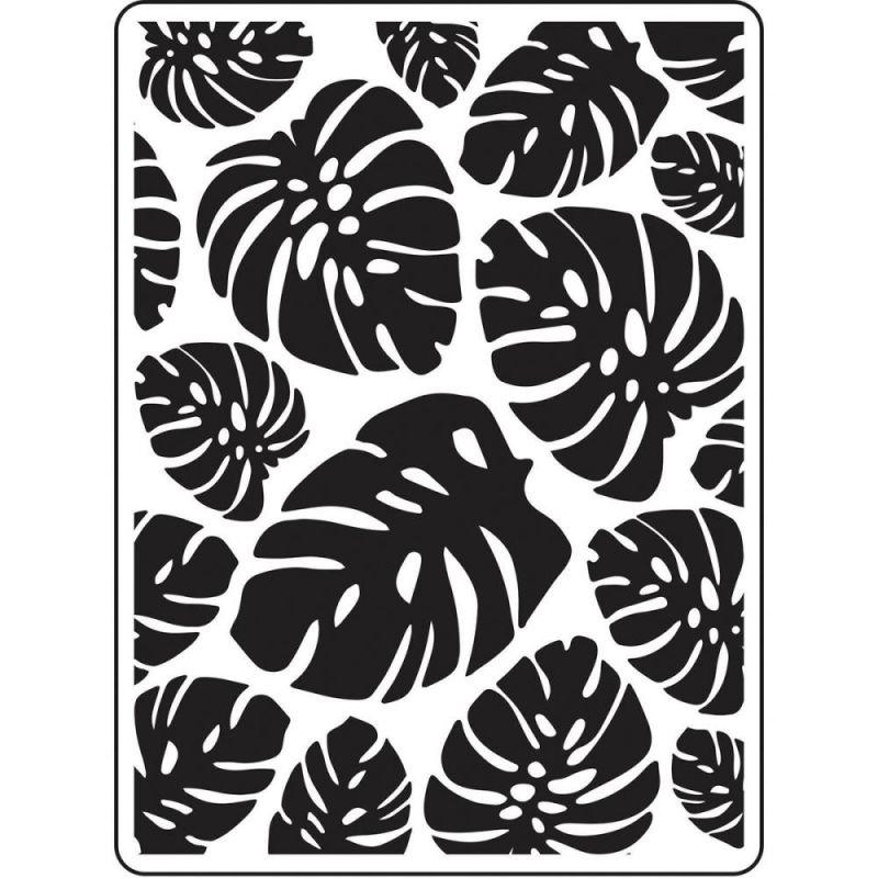 Pochoir de gaufrage Darice - Tropical Leaf Background (Feuilles tropicales)